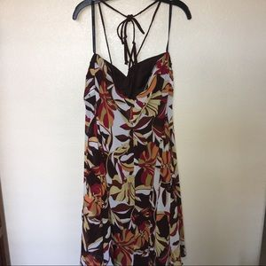 Bisou Bisou Dresses - Bisou Bisou Size 20 Brown Halter Dress w/Floral